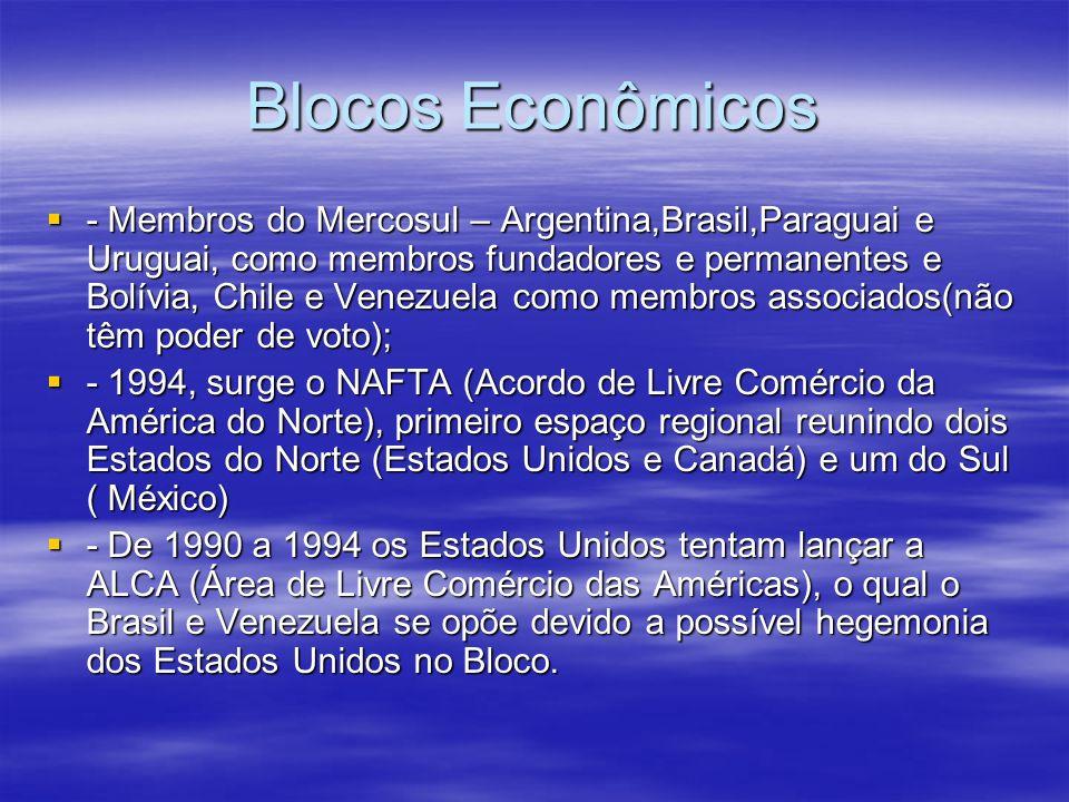 Blocos Econômicos Em 2011 surge um novo Bloco econômico Regional o AIP (Área de Integração Profunda) ou Bloco do Pacífico, formado pelo Peru, Colômbia, México e Chile que tem como maior objetivo se contrapor ao Mercosul e a hegemonia do Brasil; Em 2011 surge um novo Bloco econômico Regional o AIP (Área de Integração Profunda) ou Bloco do Pacífico, formado pelo Peru, Colômbia, México e Chile que tem como maior objetivo se contrapor ao Mercosul e a hegemonia do Brasil; - UNASUL (União das Nações Sul Americanas) – 2007, finalidade de construir uma identidade,cidadania sul americana, afirmar autonomia da região diante dos Estados Unidos.