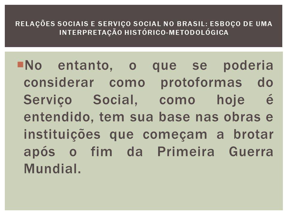 As instituições assistenciais que surgem nesse momento, como a Associação das Senhoras Brasileiras (1920) no Rio de Janeiro, e a Liga das Senhoras Católicas (1923) em São Paulo, possuem não apenas no discurso uma diferenciação em face das atividades tradicionais da caridade.