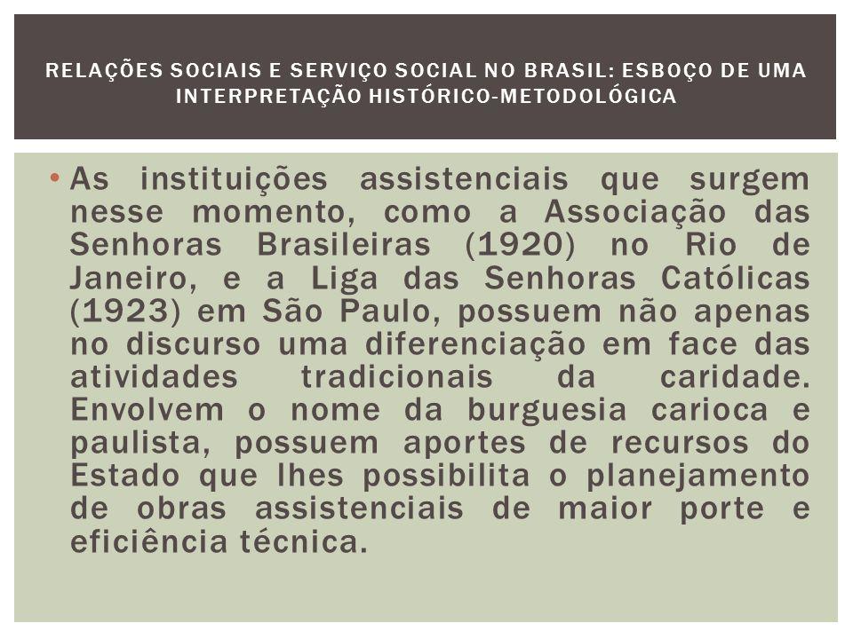 Protoformas do Serviço Social O Centro de estudos e Ação Social de São Paulo (CEAS) é considerado como manifestação original do Serviço Social no Brasil e surge em 1932 com o incentivo e controle da hierarquia.