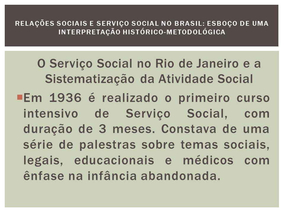 A primeira iniciativa direta do governo para formação de Assistente Social será em 1940 com o curso de Preparação em Trabalho Social na Escola de Enfermagem Ana Nery e dará origem à Escola de Serviço Social da Universidade do Brasil.