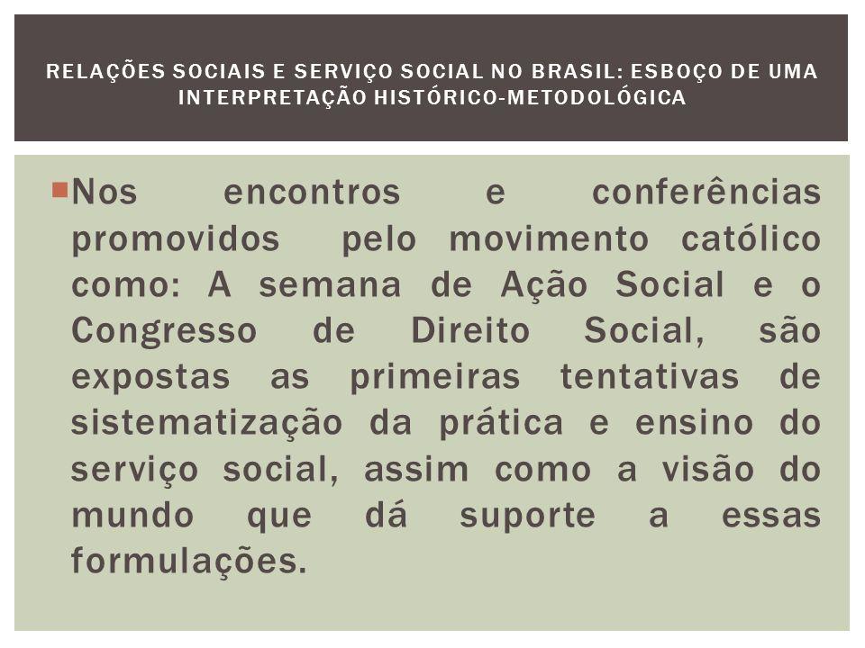 O marco da influência norte-americana no ensino especializado no Brasil foi o Congresso Interamericano de Serviço Social realizado em 1941 em Atlantic City (USA).