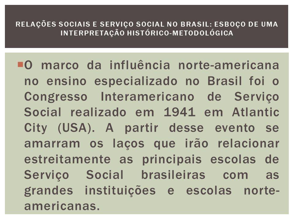 A ABESS (Associação Brasileira de Escolas de Serviço Social – 1946) aparece como principal agência de difusão das modificações curriculares e de homogeneização do ensino no âmbito nacional.