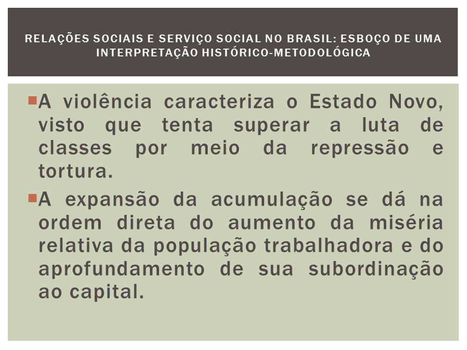 Com a liquidação da Aliança Nacional Libertadora em 1935 e a desarticulação do restante do movimento operário com a repressão que se segue ao golpe de Estado de 37, os sindicatos são definitivamente transformados em agências de colaboração com o Poder Público.