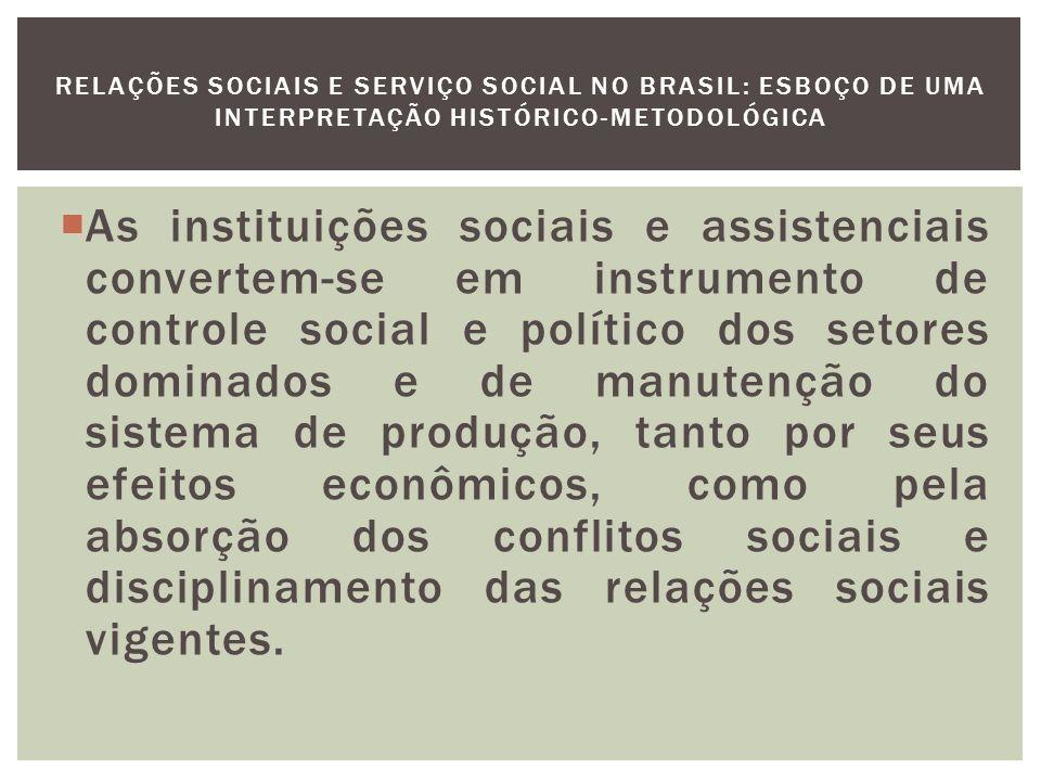 As instituições Assistenciais e o Serviço Social: 1) A legião Brasileira de Assistência: É organizada em consequência do engajamento do pais na Segunda Guerra.