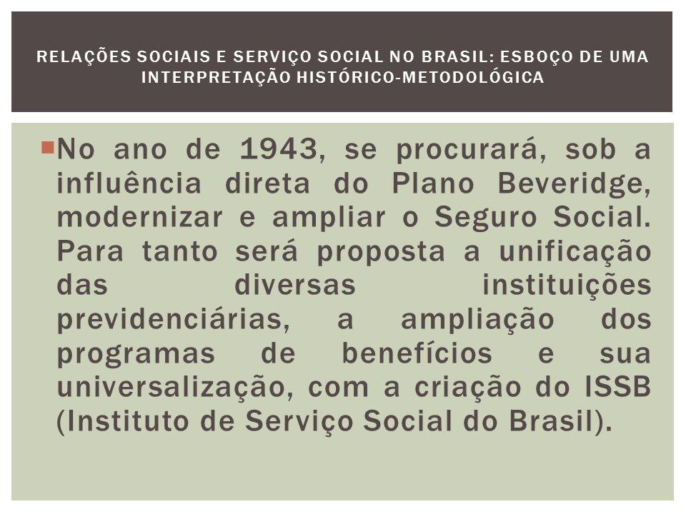 O processo de surgimento e desenvolvimento das grandes entidades assistenciais, estatais, autárquicas ou privadas, é também o processo de legitimação e instituicionalização do Serviço Social.