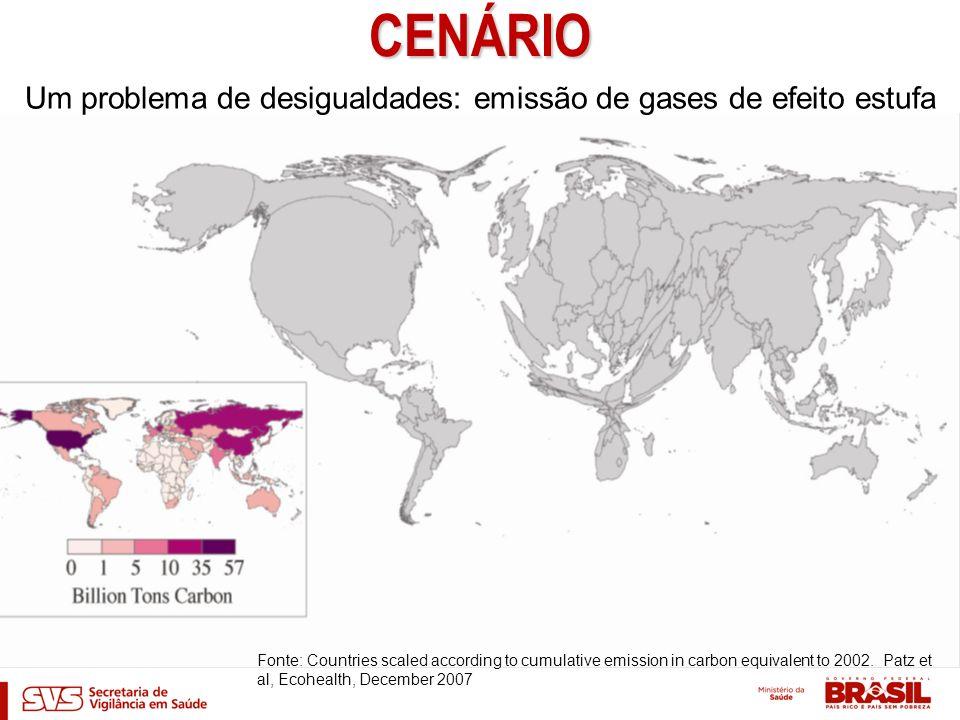 CENÁRIO Um problema de inequidades: impactos na saude Fonte: Countries scaled according to cumulative emission in carbon equivalent to 2002.