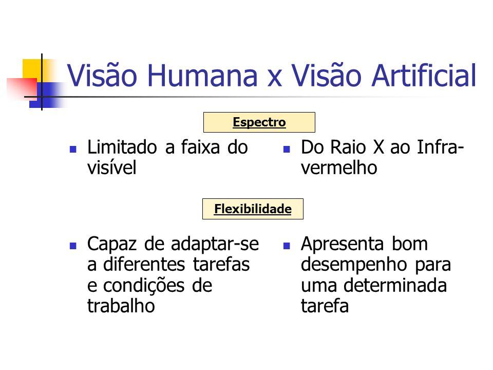 Visão Humana x Visão Artificial Estimativas precisas em assuntos subjetivos Interpretação subjetiva da cor Medições exatas => dependendo da resolução Medição objetiva dos valores RGB Habilidade Cor