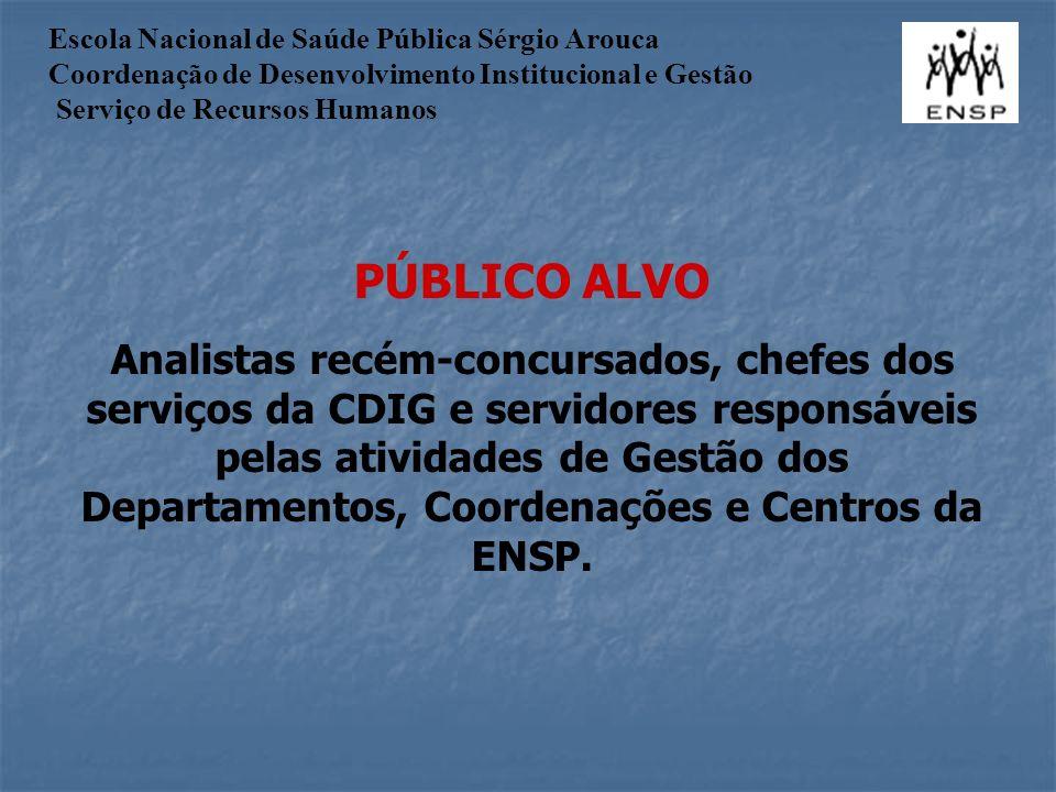 PÚBLICO ALVO Analistas recém-concursados, chefes dos serviços da CDIG e servidores responsáveis pelas atividades de Gestão dos Departamentos, Coordenações e Centros da ENSP.