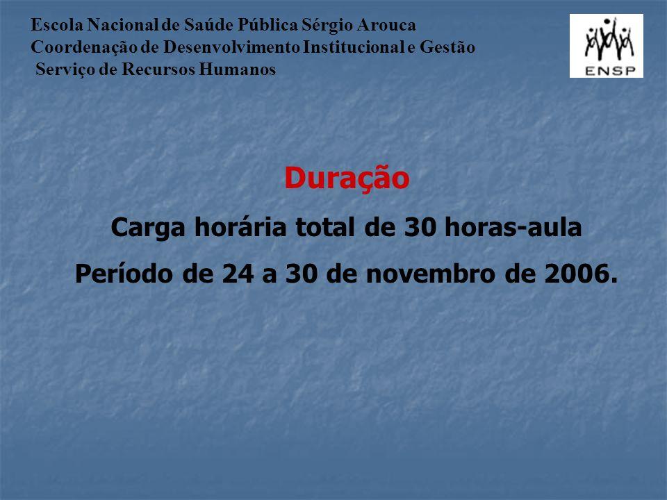 Duração Carga horária total de 30 horas-aula Período de 24 a 30 de novembro de 2006.
