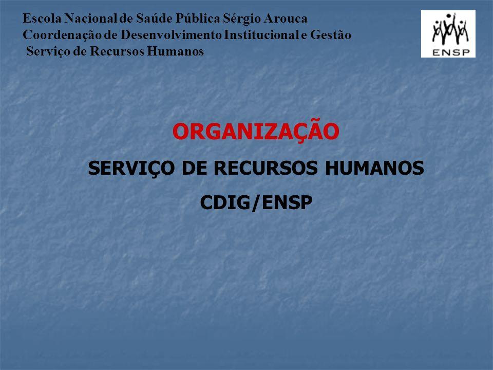ORGANIZAÇÃO SERVIÇO DE RECURSOS HUMANOS CDIG/ENSP Escola Nacional de Saúde Pública Sérgio Arouca Coordenação de Desenvolvimento Institucional e Gestão Serviço de Recursos Humanos