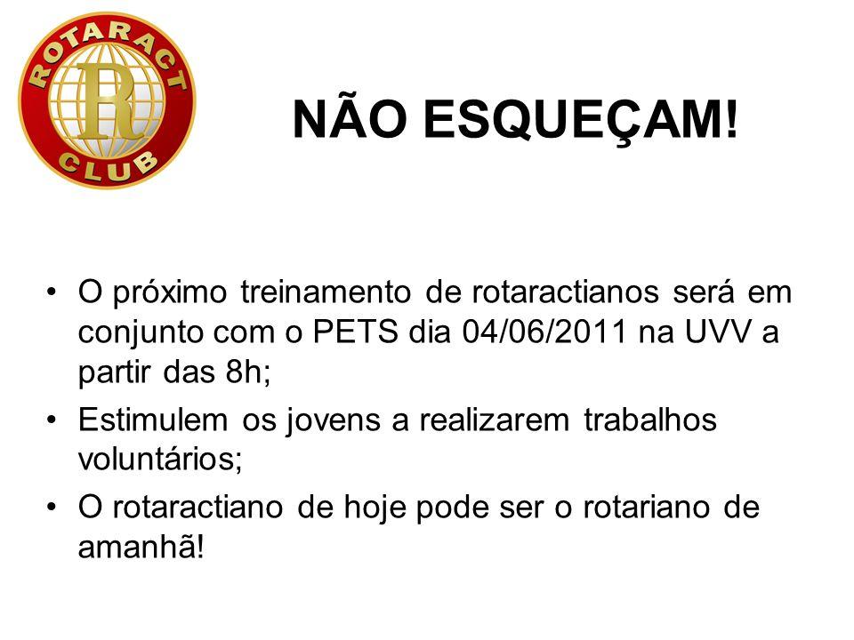 PERGUNTAS? victorscorrea@yahoo.com.br 9901-9099 rdr@rotaract4410.com.br