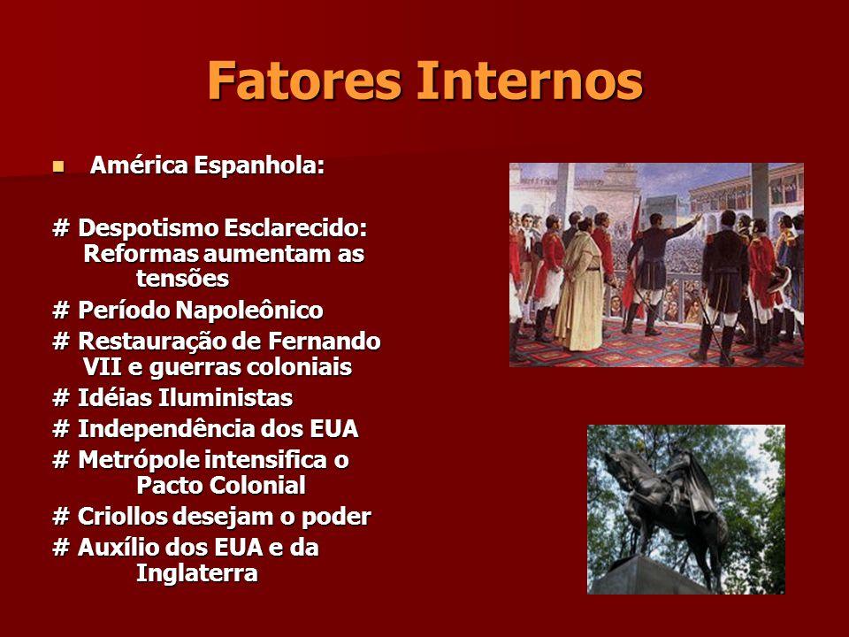 Ideais José de San Martim: # Monarquias Constitucionais # Fragmentação Simon Bolívar: Simon Bolívar: # República # República # Pan-América # Pan-América