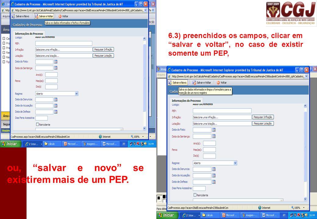 7º) Cadastrado o(s) PEP(s), a próxima etapa é o cadastro dos eventos, que fica logo abaixo do campo processos.