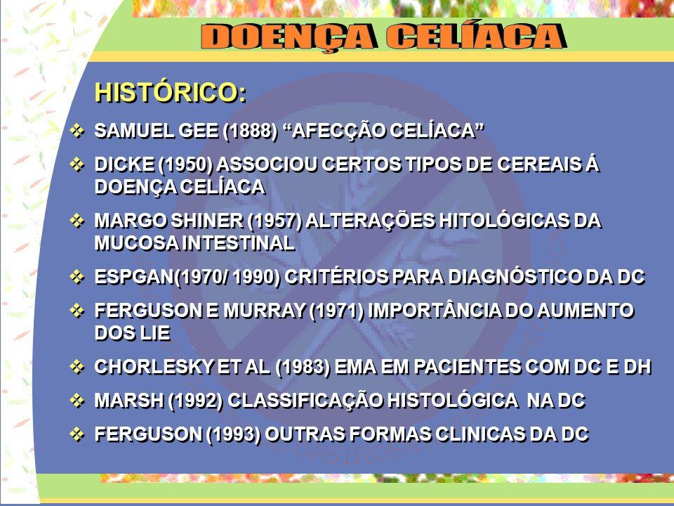 FISIOPATOLOGIA DA DOENÇA CELÍACA INGESTÃO DO GLÚTEN SECALINA CENTEIO SECALINA CENTEIO HORDEÍNA CEVADA HORDEÍNA CEVADA GLIADINA TRIGO AVEINA AVEIA AVEINA AVEIA INDIVÍDUOS PREDISPOSTO (HLA DQ2) HUMORAL CELULAR AC AGA AC EMA AC tTGA AC AGA AC EMA AC tTGA REAÇÃO IMUNE LIE LESÃO CELULAR TAXAS ELEVADAS
