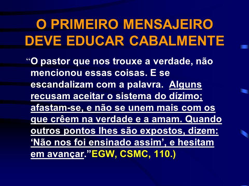 TAREFA DOS PASTORES, ANCIÃOS E OFICIAIS DE IGREJA É parte da obra do pastor ensinar os que aceitam a verdade mediante seus esforços, a trazerem os dízimos ao tesouro.