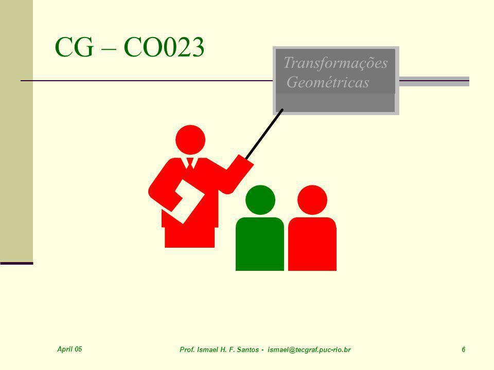April 05 Prof.Ismael H. F. Santos - ismael@tecgraf.puc-rio.br 7 OpenGL: o que é.
