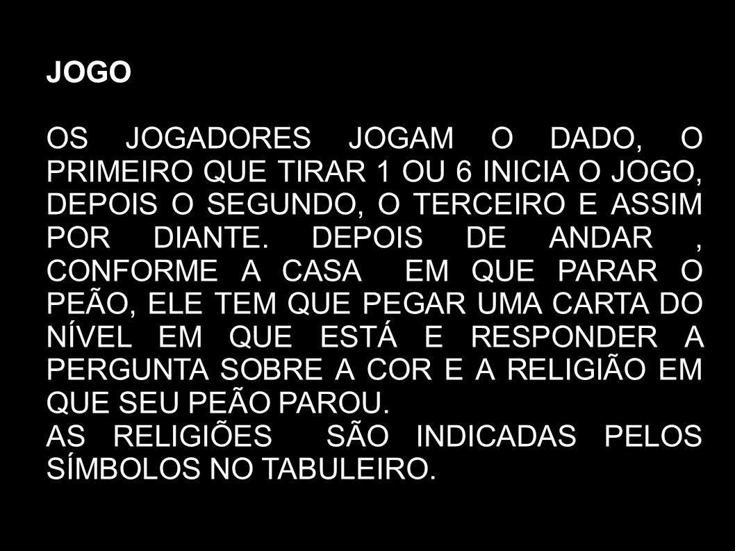 CONFORME A COR E A RELIGIÃO EM QUE O PEÃO PARAR, VOCÊ DEVE RESPONDER UMA PERGUNTA SOBRE A RELIGIÃO CORRESPONDENTE.