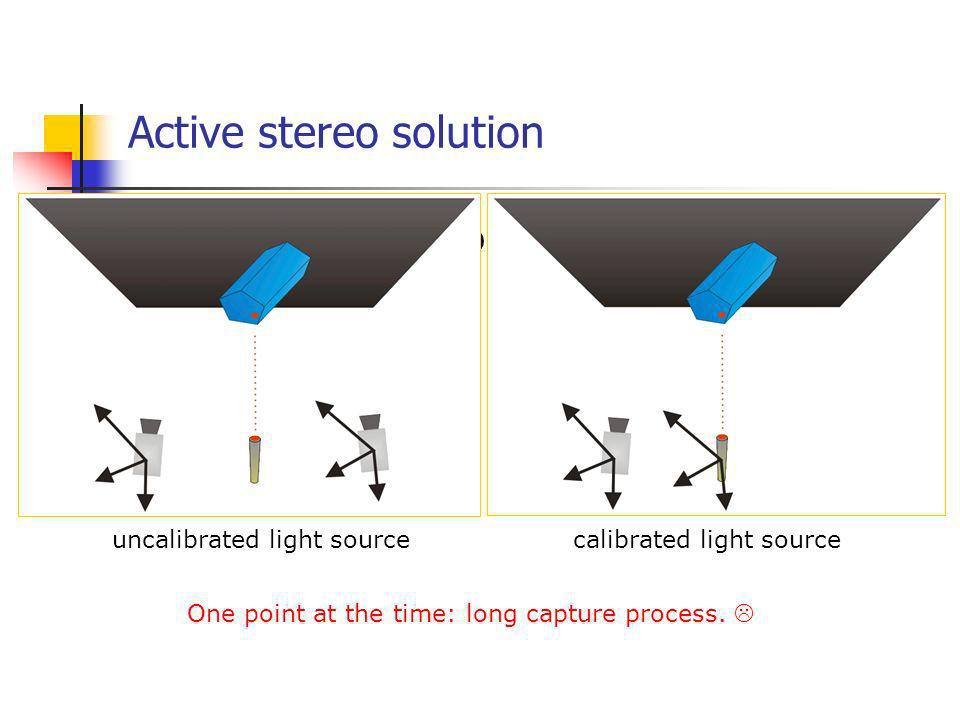 Active stereo: capturing many points Use of a digital projector as a structured light source Pattern with several elements in a way where each element can be identified univocally point coding: prone to errorsstripes: more robust