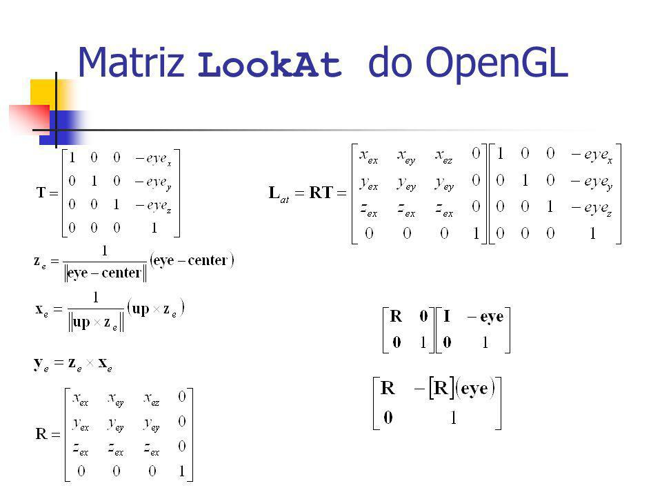 Matriz essencial (código C) Matrix epiEssencialMatrix( Matrix Ra, Vector eye_a, Matrix Rb, Vector eye_b) { Matrix Rba = algMult(Rb,algTransp(Ra)); Vector eye = algMult(Ra,algSub(eye_b,eye_a); Matrix S = algVectorProductMatrix(eye); Matrix E = algMult(Rba,S); return E; }