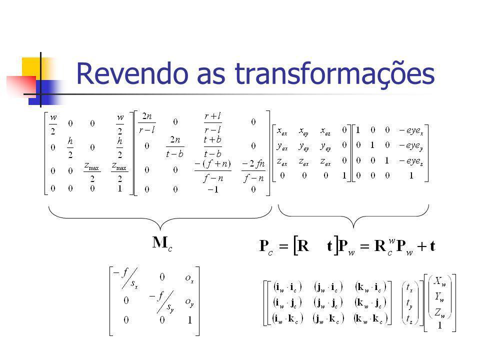 Sistemas de coordenadas y im f x im ycyc vista lateral ococ zczc f =n fovy oyoy x im y im h s y oxox ococ eixo óptico x0x0 y0y0 ycyc xcxc zczc y x w s x x y pixel sxsx sysy
