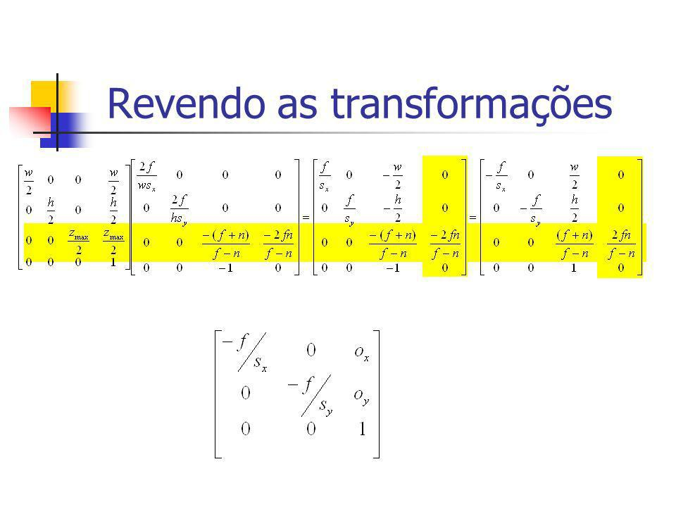 Matriz Fundamental (código C) Matrix epiFundamentalMatrix( Matrix Ma, Matrix Ra, Vector eye_a, Matrix Mb, Matrix Rb, Vector eye_b) { Matrix E = epiEssencialMatrix(Ra,eye_a,Rb,eye_b); Matrix invMa = algInv(Ma); Matrix invMbTransp = algTransp(algInv(Mb)); Matrix tmp = algMult(invMbTransp,E); Matrix F = algMult(tmp,invMa); return F; }