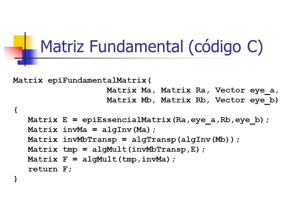 Estimativa direta da Matriz Fundamental O algoritmo de 8 pontos