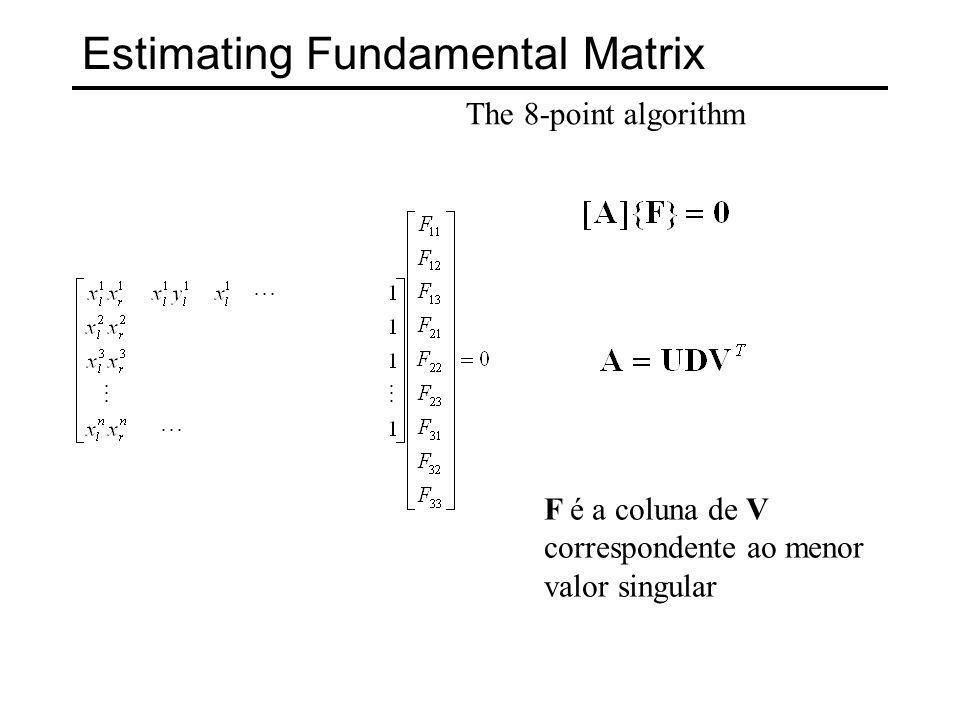 Estimating Fundamental Matrix The 8-point algorithm deveria ter posto 2.