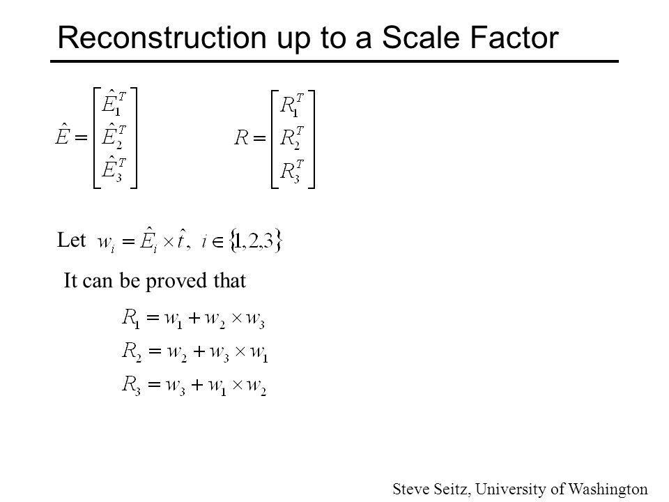 Reconstruction up to a Scale Factor We have two choices of t, (t + and t - ) because of sign ambiguity and two choices of E, (E + and E - ).