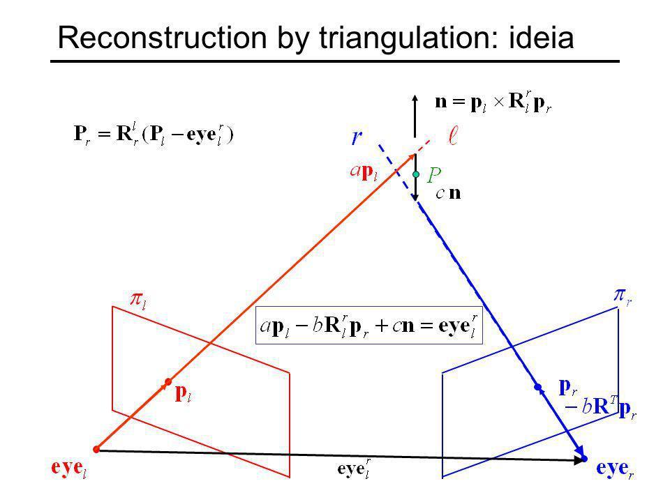 Reconstruction by triangulation: algebra
