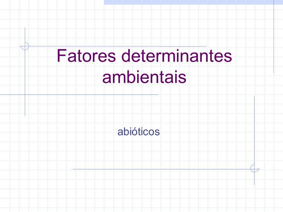 Fatores determinantes ambientais 1.Crescimento 2.Sobrevivência Lei do Mínimo de Liebig - nutrientes Lei da Tolerância de Shelford - fatores físico-químicos