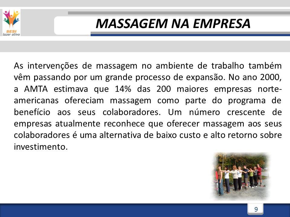 3/3/201410 TERRA DO FUTEBOL E DA MASSAGEM Quem já recebeu uma boa sessão de massagem sabe o quão relaxante e prazerosa essa técnica pode ser.