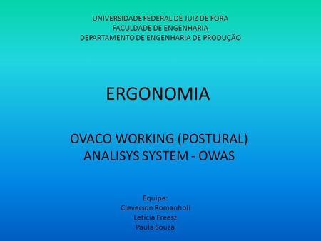 OVACO WORKING (POSTURAL) ANALISYS SYSTEM - OWAS