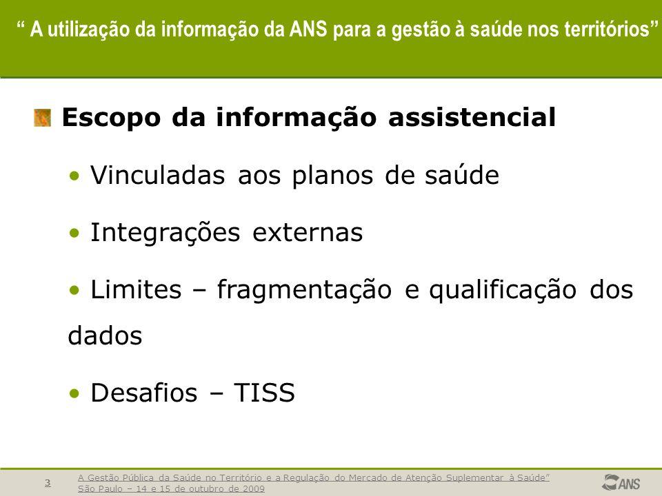 A Gestão Pública da Saúde no Território e a Regulação do Mercado de Atenção Suplementar à Saúde São Paulo – 14 e 15 de outubro de 2009 4 A utilização da informação da ANS para a gestão à saúde nos territórios REGULAMENTAÇÃO ANS - Define indicadores - Revisa literatura - Define meta e pontuação OPS coleta dados OPS envia dados ANS recebe e analisa dados Dados Inconsistentes Dados Consistentes 1- Dados consistentes liberados + 2- Ficha Técnica do Indicador Valores do Setor Acompanha assistência Visão Geral