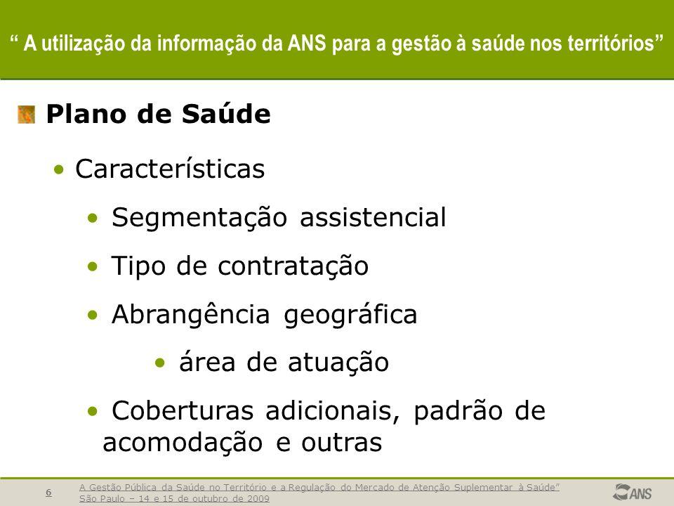 A Gestão Pública da Saúde no Território e a Regulação do Mercado de Atenção Suplementar à Saúde São Paulo – 14 e 15 de outubro de 2009 7 A utilização da informação da ANS para a gestão à saúde nos territórios Plano de Saúde Abrangência geográfica.