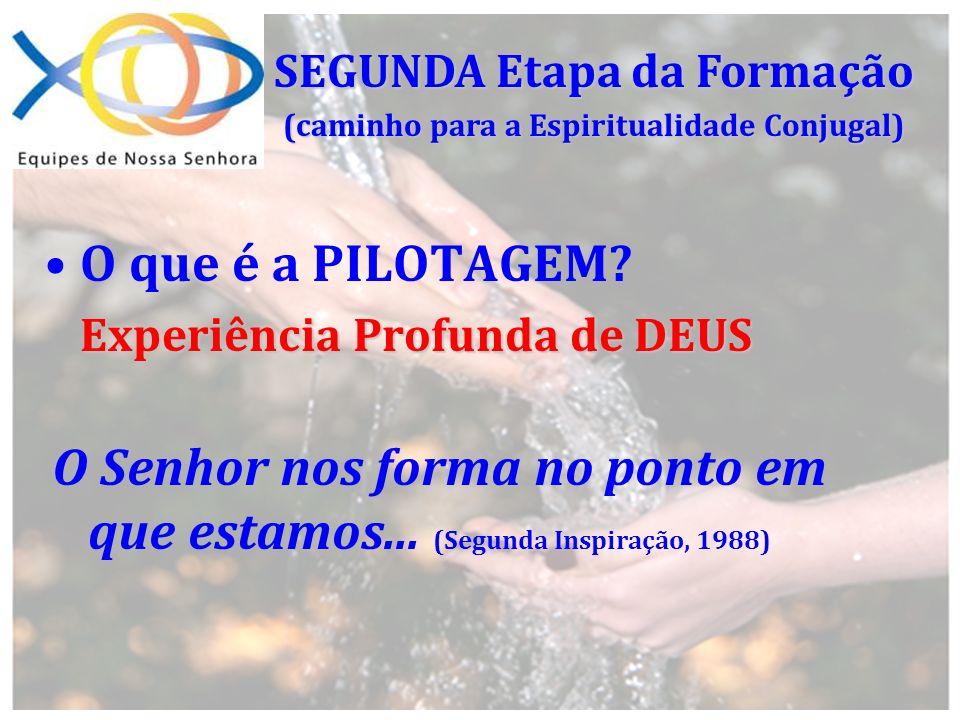A escolha do CASAL PILOTO Prática da PILOTAGEM Prática da PILOTAGEM REUNIÃO MENOS UM (-1); REUNIÃO MENOS UM (-1); REUNIÃO ZERO (0) AS REUNIÕES DA PILOTAGEM PILOTAGEM (caminho para a Espiritualidade Conjugal)
