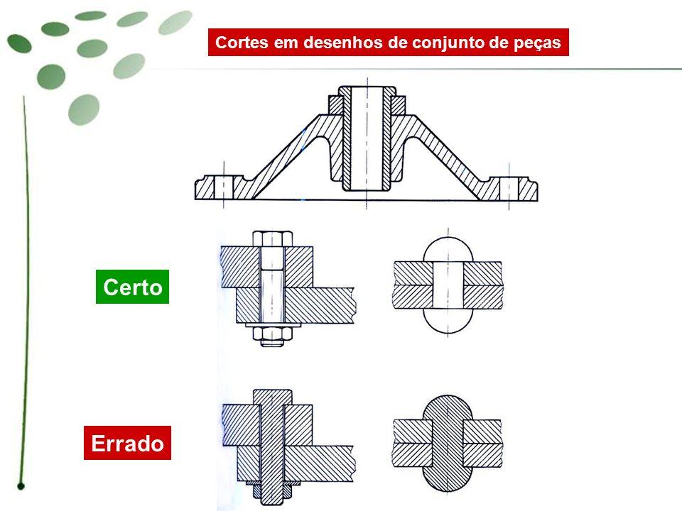 Cortes em desenhos de conjunto de peças Corte longitudinal de um eixo com parafuso e chaveta