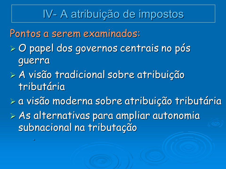 IV- A atribuição de impostos O papel dos governos centrais no pós guerra O papel dos governos centrais no pós guerra Demandas da Guerra: fortalecimento governos nacionais; A Latina, Estado Desenvolvimentista.