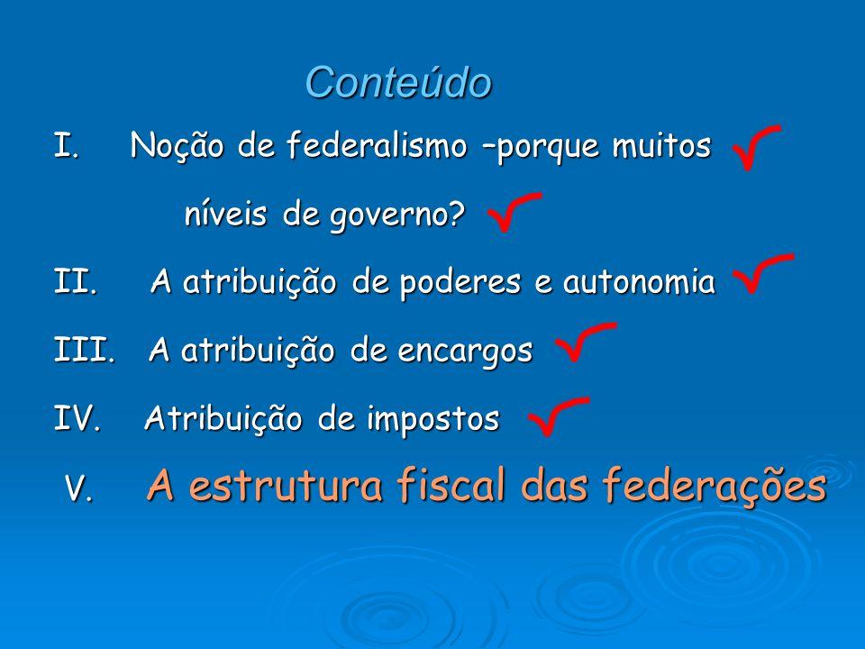 V- A estrutura fiscal das federações O objetivo aqui: retomar os pontos anteriores, e identificar a contradição/tensão fundamental dos sistemas federativos modernos: o vertical gap.