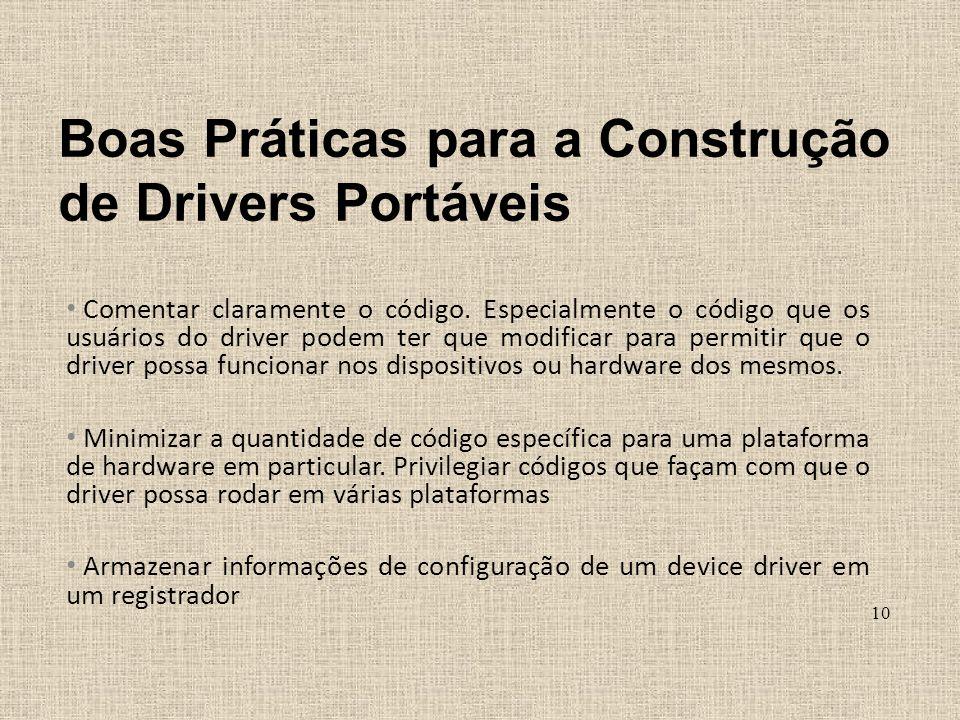 Obter o endereço físico do registrador Permitir configuração de prioridade de execução de Threads no registrador Boas Práticas para a Construção de Drivers Portáveis 11