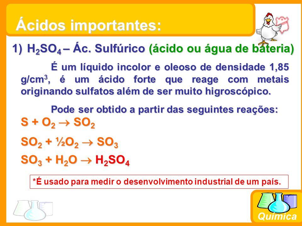Química 2) HCl – Ác.Clorídrico (ácido muriático) Solução de hidreto de cloro em água.
