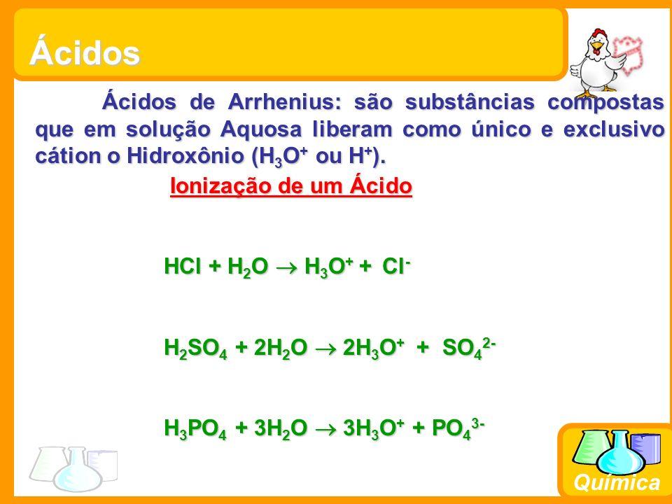 Química Hidrogênios ionizáveis Os hidrogênios que fornecem H 3 O + são chamados de hidrogênios ionizáveis.São aqueles que se ligam ao elemento mais eletronegativo na molécula do ácido(oxigênio).