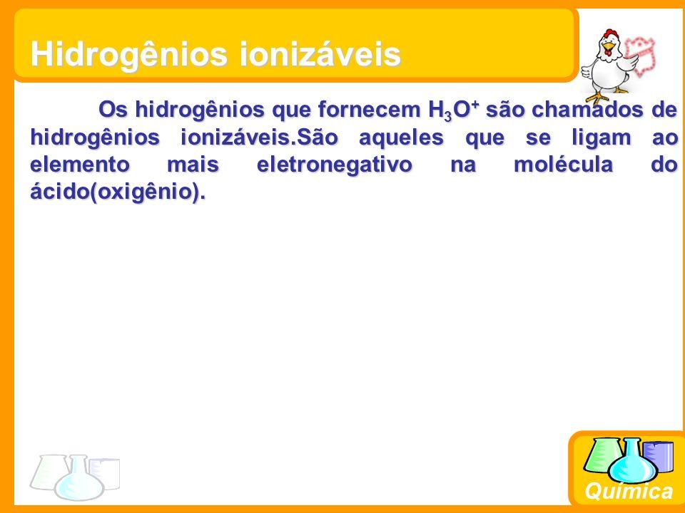 Química Classificação dos Ácidos Quanto a presença ou ausência de Oxigênio Hidrácidos (HCl, H 2 S, HBr) Oxiácidos (H 2 SO 4, H 3 PO 4, HClO 4 )