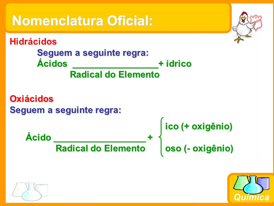 Química Clube dos 6: -H 2 SO 4 -HNO 3 -H 3 PO 4 -H 2 CO 3 -H 3 BO 3 -HClO 3 Ácido Per.....ico Ácido.....ico Ácido.....oso Ácido Hipo.....oso Menos Oxigênios Ex: H 3 PO 2 – ác.