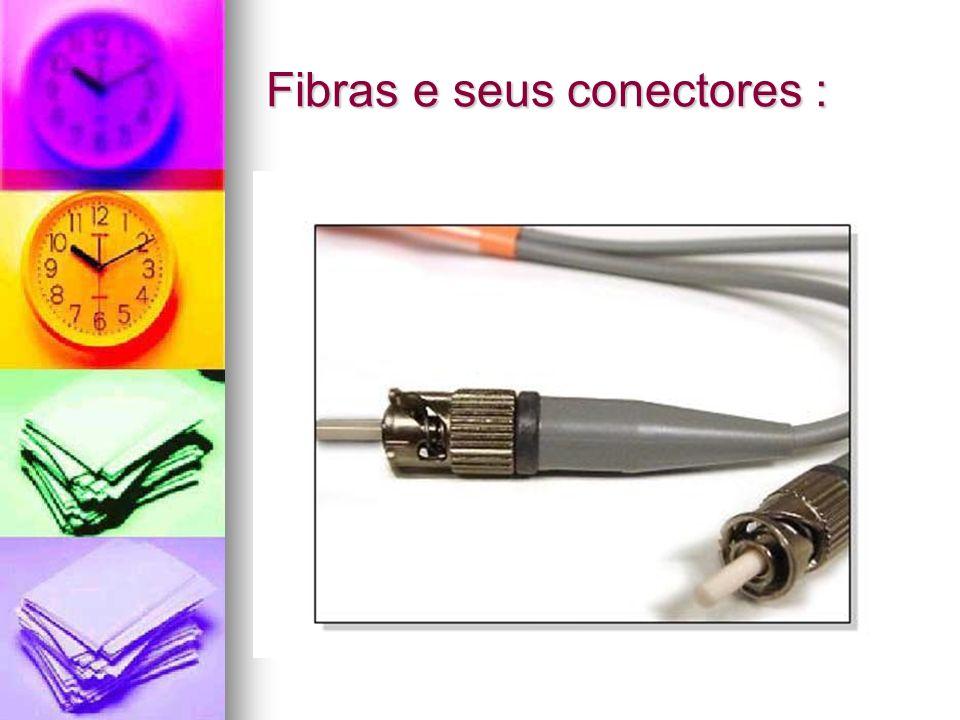 Fibras conectores : Nas fibras, os cabos têm de 2 até 48 ou até mais fibras no mesmo cabo, Nas fibras, os cabos têm de 2 até 48 ou até mais fibras no mesmo cabo, A luz não gera diafonia ou outra interferência magnética, por isso as fibras não são nem trançadas, A luz não gera diafonia ou outra interferência magnética, por isso as fibras não são nem trançadas,