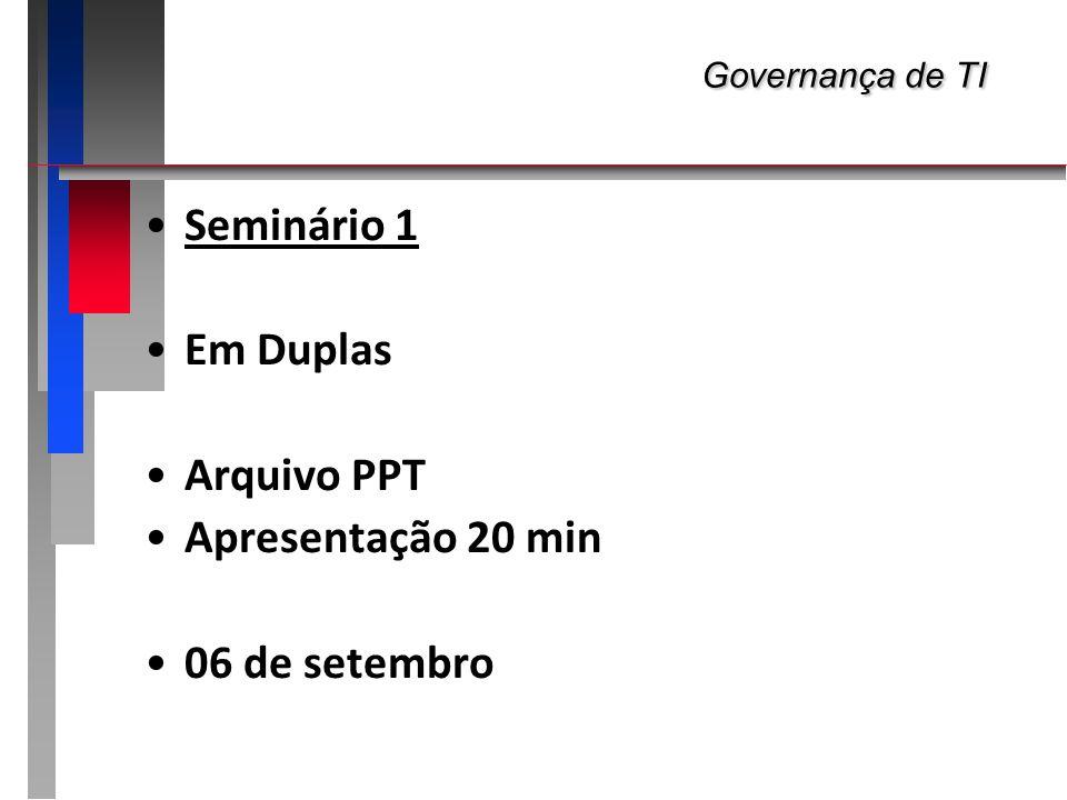 Governança de TI Governança de TI Seminário 1 Montar Duplas...