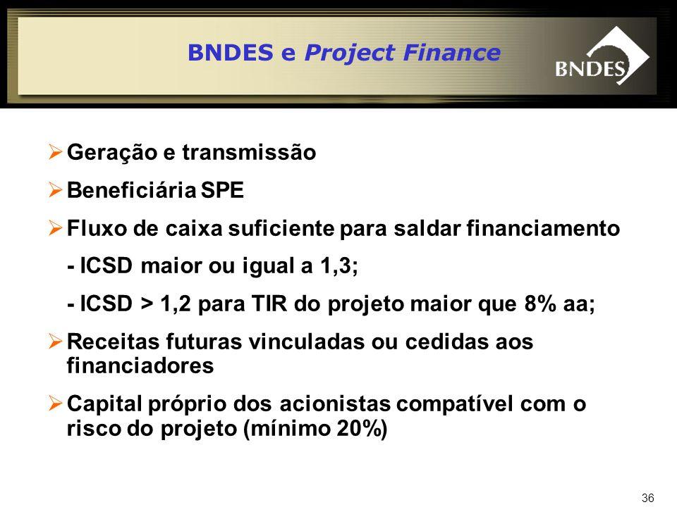 37 Risco Classificação de risco de projeto Qualificação dos acionistas Exame da qualidade dos recebíveis Constituição de contrato EPC Repartição de riscos: Participação de outros financiadores e agentes financeiros BNDES e Project Finance