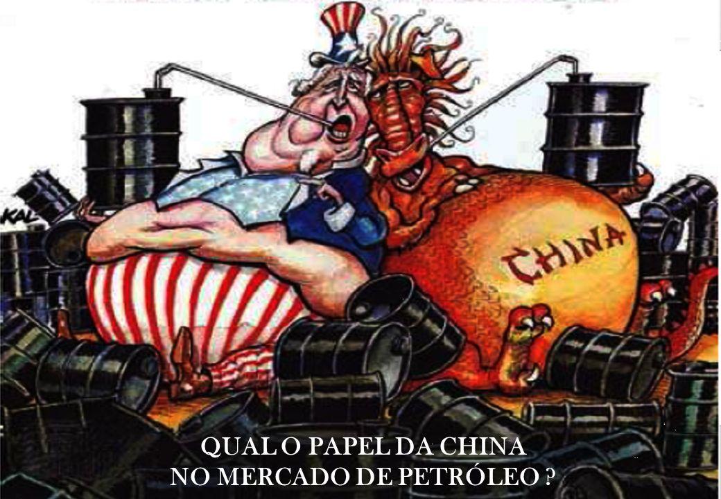 A China tornou-se importadora líquida de petróleo em 1993 Hoje, a China produz 4 MM bpd e consome 9 MM bpd, gerando uma importação de 5 MM bpd de petróleo Segundo as projeções do EIA as importações de petróleo da China totalizaram mais de doze milhões e meio de bmpp.