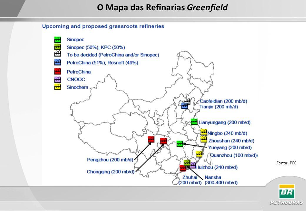 Mapa dos Oleodutos e Terminais Fonte: PFC Energy 2010 Petrochina possui 9 oleodutos na China perfazendo uma distância de 7.419 km, seguido pela Sinopec que possui 6 oleodutos totalizando 2951 km.