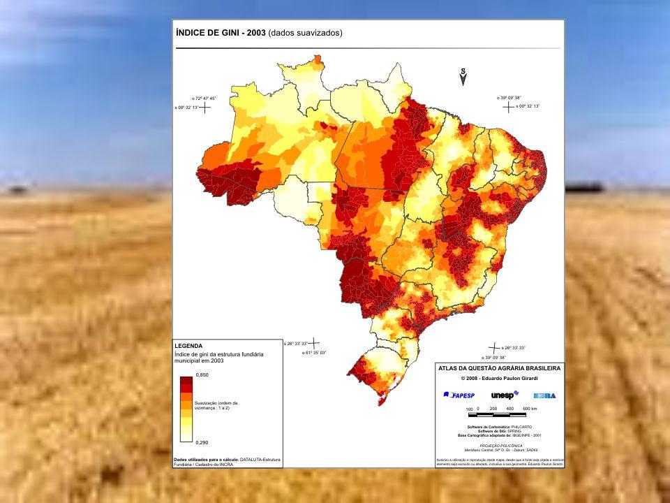 Concentração fundiária no Brasil Em 2003 os municípios com médio/baixo índice de Gini (até 0,500) eram 924 (16,6% dos 5565 municípios) e compreendiam 6% da área total dos imóveis rurais.