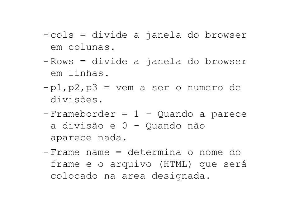 Exemplo : Arquivo => MenuFrame.html Frame Importante : Em arquivo (HTML) com frame não deverá Ter a instrução